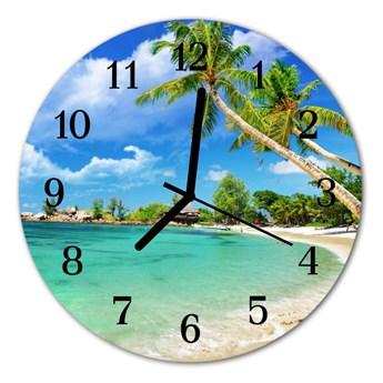 Zegar ścienny okrągły Plażowe palmy