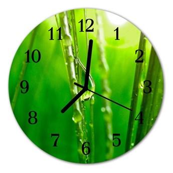 Zegar ścienny okrągły Krople trawy