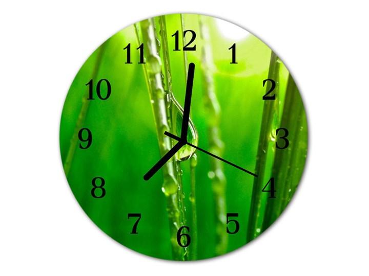 Zegar ścienny okrągły Krople trawy Kolor Zielony Szkło Styl Nowoczesny