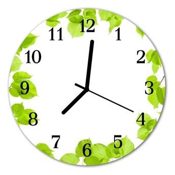 Zegar szklany okrągły Liście