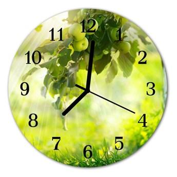 Zegar szklany okrągły Jabłoń