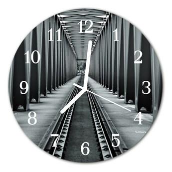 Zegar szklany okrągły Tory kolejowe