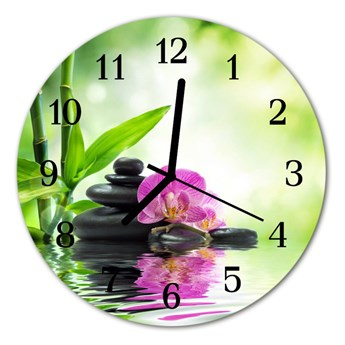Zegar szklany okrągły Storczyk spa