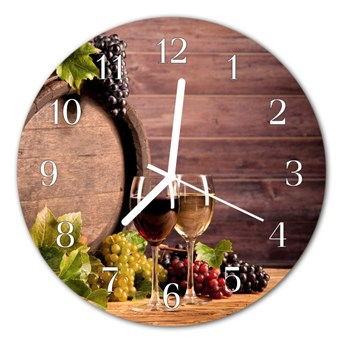 Zegar szklany okrągły Winogrona