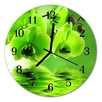 Zegar szklany okrągły Storczyk