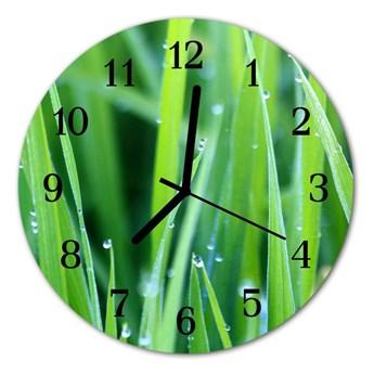 Zegar szklany okrągły Rosa na trawie