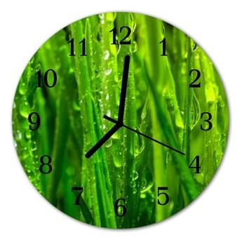 Zegar szklany okrągły Trawa