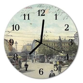 Zegar szklany okrągły Pocztówka retro