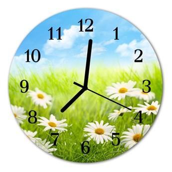 Zegar szklany okrągły Łąka