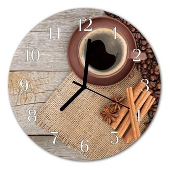 Zegar szklany okrągły Ziarna kawy
