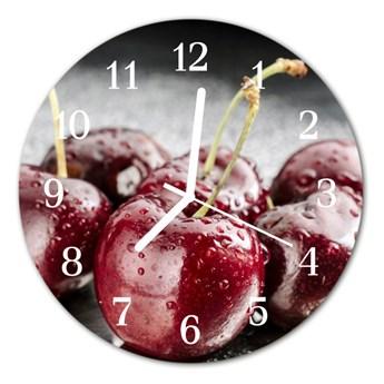 Zegar szklany okrągły Wiśnia