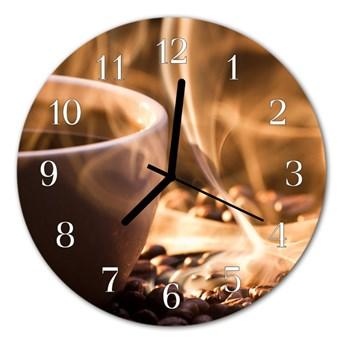 Zegar szklany okrągły Kawa