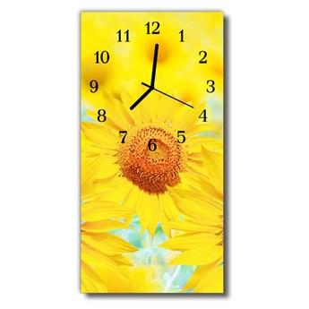Zegar Szklany Pionowy Kwiaty Słonecznik żółty