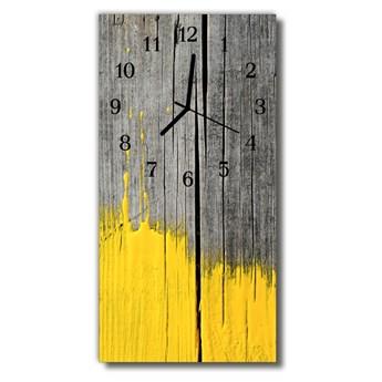 Zegar Szklany Pionowy Drewno farba żółty