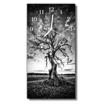 Zegar Szklany Pionowy Natura Drzewo Czarno-biały