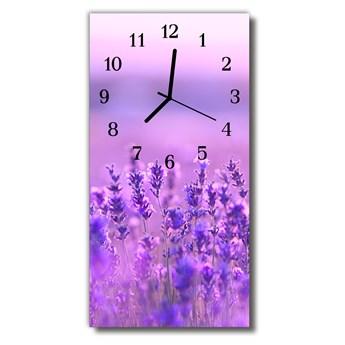 Zegar Szklany Pionowy Kwiaty Lawenda pole purpurowy