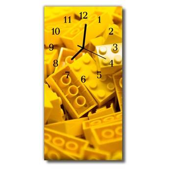 Zegar Szklany Pionowy Klocki lego żółty