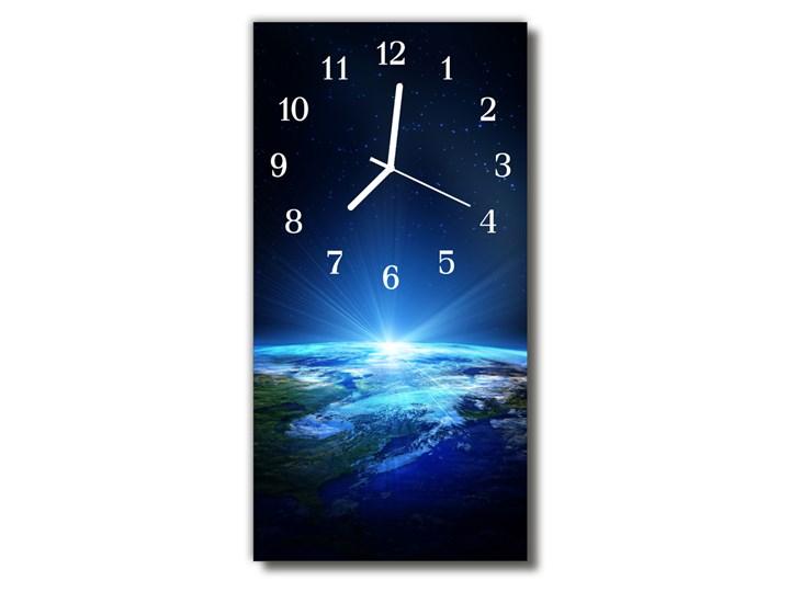 Zegar Szklany Pionowy Wszechświat Ziemia niebieski Szkło Prostokątny Zegar ścienny Styl Nowoczesny