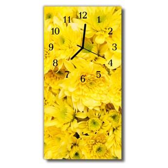 Zegar Szklany Pionowy Kwiaty Kwiaty żółty