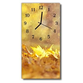 Zegar Szklany Pionowy Natura Liście złoto