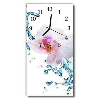 Zegar Szklany Pionowy Kwiaty Storczyk kolorowy