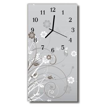 Zegar Szklany Pionowy Sztuka Wzór kwiatowy szary