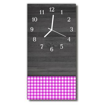 Zegar Szklany Pionowy Drewno kratka kolorowy