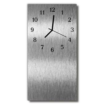 Zegar Szklany Pionowy Stalowy metalowy srebrny