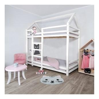 Białe drewniane piętrowe łóżko dziecięce Benlemi Twany, 120x200 cm