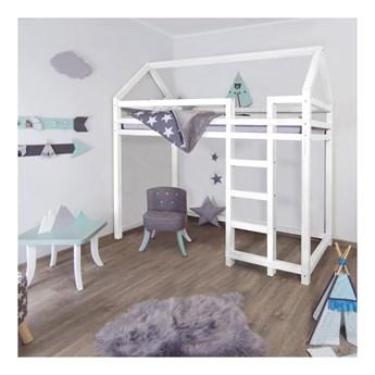 Białe drewniane podwyższone łóżko dziecięce Benlemi Nestys, 120x200 cm