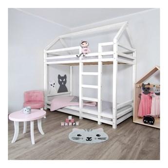 Białe drewniane piętrowe łóżko dziecięce Benlemi Twiny, 120x200 cm
