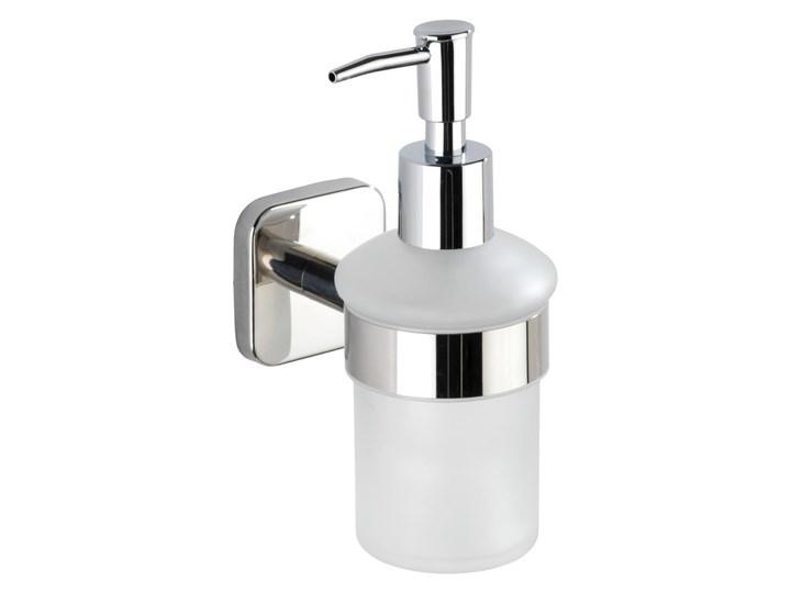 Biały ścienny dozownik do mydła z uchwytem ze stali nierdzewnej Wenko Mezzano