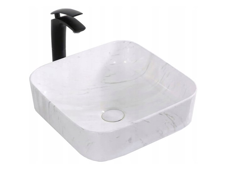 VELDMAN UMYWALKA CERAMICZNA RODO MARMUR Nablatowe Kwadratowe Ceramika Szerokość 39 cm Kategoria Umywalki