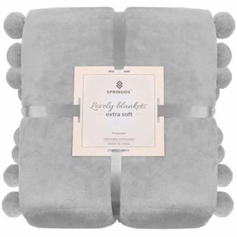Narzuta na łóżko z dużymi pomponami, pled 160x200 cm koc na kanapę jasny szary