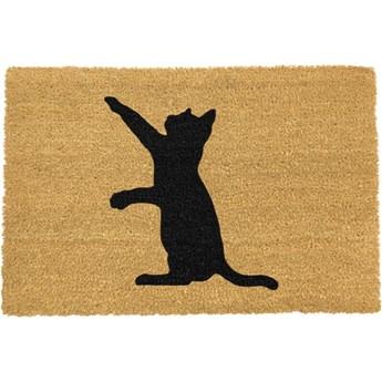 Wycieraczka z naturalnego kokosowego włókna Artsy Doormats Cat, 40x60 cm