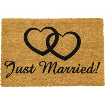Wycieraczka z naturalnego włókna kokosowego Artsy Doormats Just Married, 40x60 cm