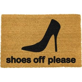 Wycieraczka z naturalnego włókna kokosowego Artsy Doormats Shoes Off Please, 40x60 cm