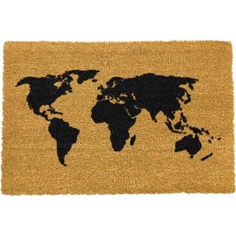 Wycieraczka z naturalnego kokosowego włókna Artsy Doormats World Map, 40x60 cm