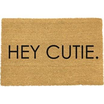Wycieraczka z naturalnego włókna kokosowego Artsy Doormats Hey Cutie, 40x60 cm