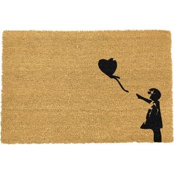 Wycieraczka z naturalnego włókna kokosowego Artsy Doormats Girl with a Balloon Graffiti, 40x60 cm