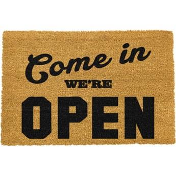 Wycieraczka z naturalnego włókna kokosowego Artsy Doormats We're Open, 40x60 cm
