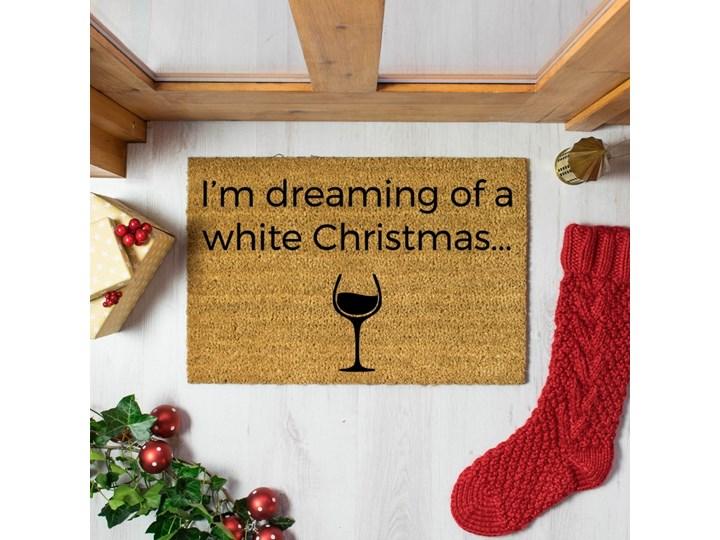 Wycieraczka z naturalnego włókna kokosowego Artsy Doormats White Wine Christmas, 40x60 cm Włókno kokosowe Kategoria Wycieraczki Kolor Beżowy