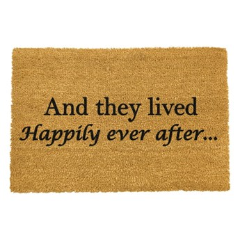 Wycieraczka z naturalnego włókna kokosowego Artsy Doormats Happily Ever After, 40x60 cm