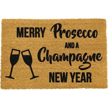 Wycieraczka z naturalnego włókna kokosowego Artsy Doormats Champagne New Year, 40x60 cm