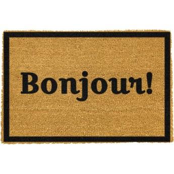 Wycieraczka z naturalnego włókna kokosowego Artsy Doormats Bonjour, 40x60 cm