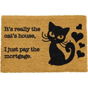 Wycieraczka z naturalnego włókna kokosowego Artsy Doormats It's really the Cats House, 40x60 cm