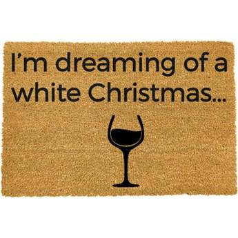 Wycieraczka z naturalnego włókna kokosowego Artsy Doormats White Wine Christmas, 40x60 cm