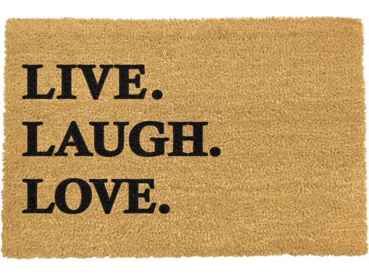 Wycieraczka z naturalnego kokosowego włókna Artsy Doormats Live Laugh Love, 40x60 cm Włókno kokosowe Kolor Brązowy
