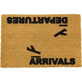 Wycieraczka z naturalnego kokosowego włókna Artsy Doormats Arrivals and Departures, 40x60 cm