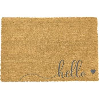 Szara wycieraczka z naturalnego włókna kokosowego Artsy Doormats Hello Scribble, 40x60 cm